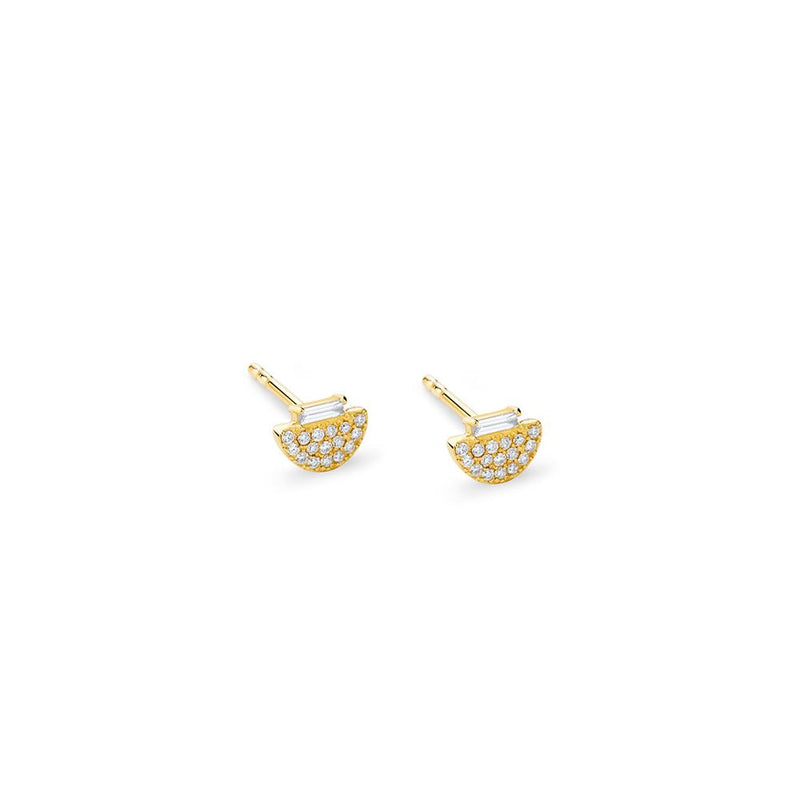 PHASE - DIAMOND PAVE BAGUETTE HALF MOON STUD EARRINGS
