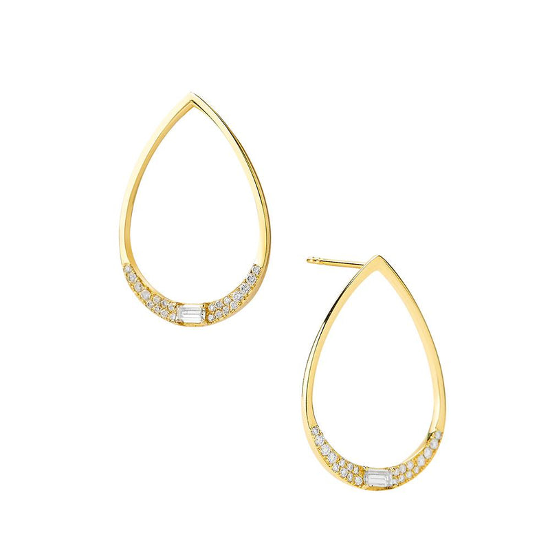 ECLIPSE - DIAMOND PAVE BAGUETTE FRONTAL DROP EARRINGS