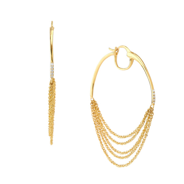 PHASE - DIAMOND CHAIN HOOP EARRINGS
