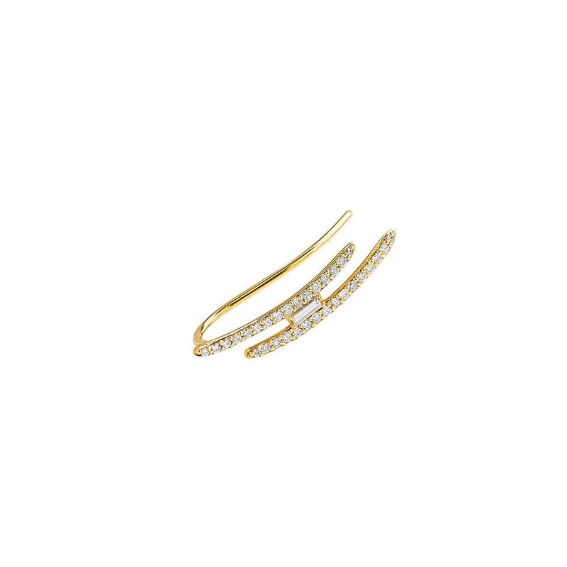 ECLIPSE - DIAMOND PAVE BAGUETTE DOUBLE CLIMBER EARRING (LEFT EAR)