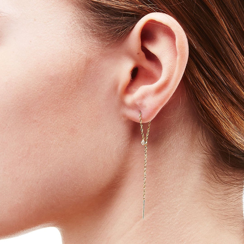 ECLIPSE - DIAMOND LINEAR LOOP THREADER EARRING