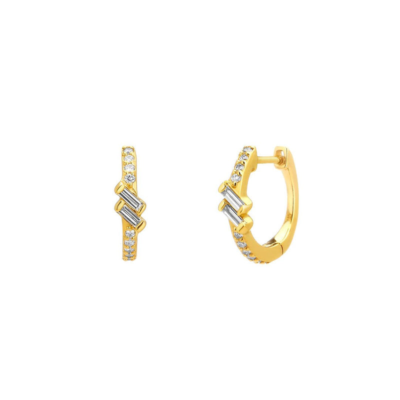 PHASE - PETITE DOUBLE BAGUETTE DIAMOND PAVE HUGGIE EARRINGS