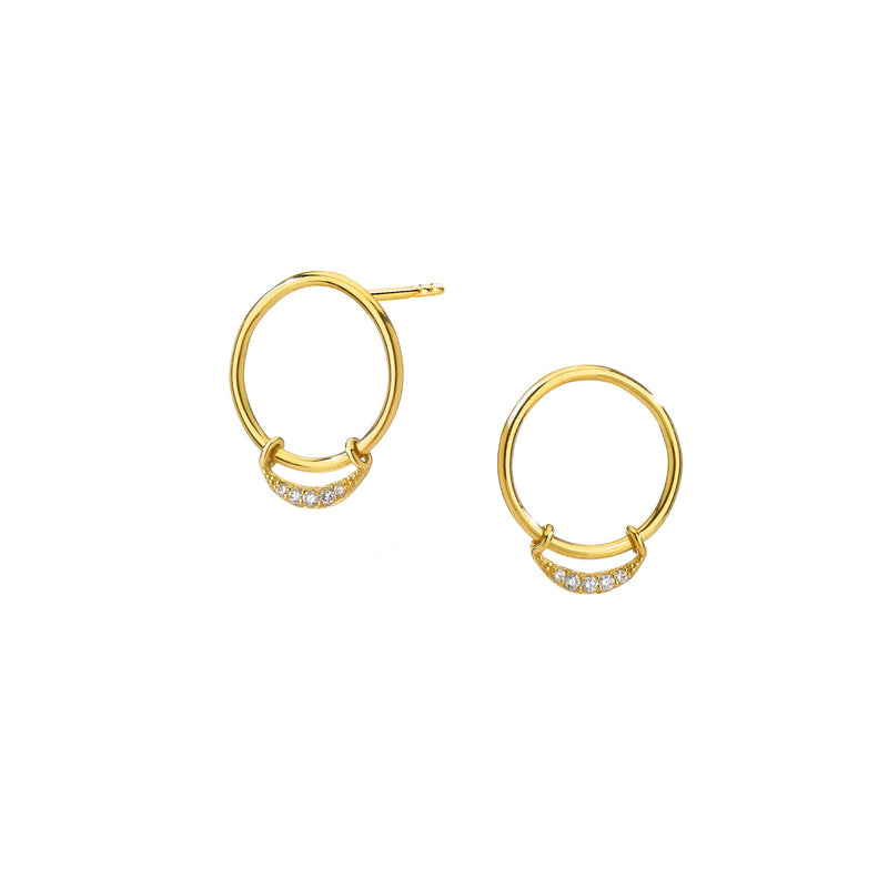 ECLIPSE - DIAMOND PETITE CRESCENT HOOP DROP EARRINGS