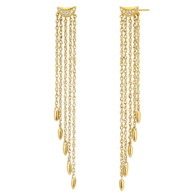 PHASE - DIAMOND PAVE CRESCENT TAPERED FIVE ROW CHAIN FRINGE EARRINGS