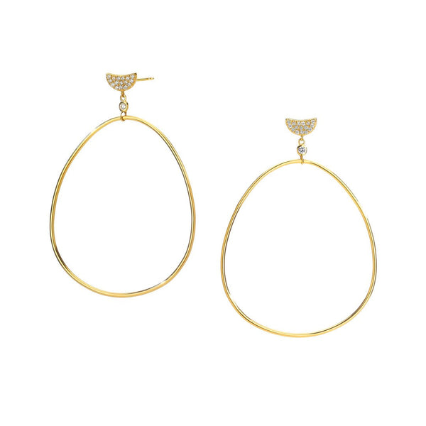 PHASE - DIAMOND PAVE CRESCENT FRONTAL HOOP DROP EARRINGS