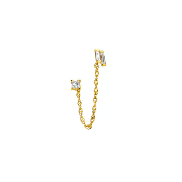 TIDAL - DIAMOND MIX MATCH ADJUSTABLE DOUBLE POST EARRING