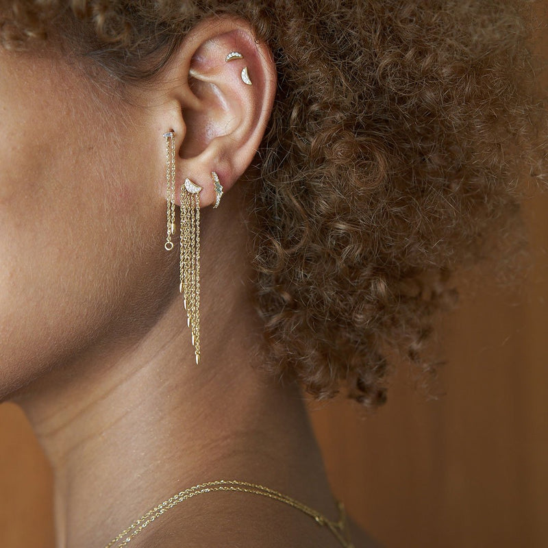TIDAL - DIAMOND CHAIN FRONT BACK EARRINGS
