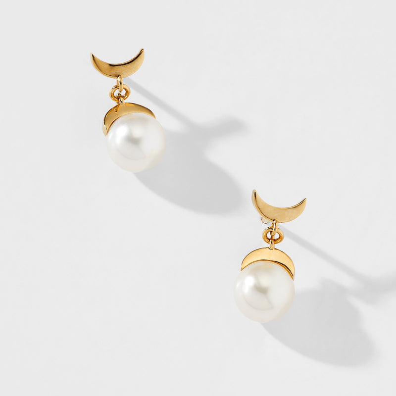 MOON PEARL DROP EARRINGS