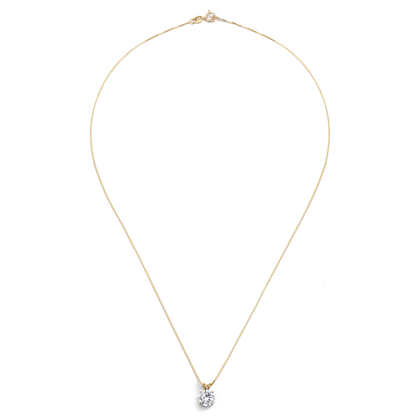 14KT GOLD ROUND 1CTW CZ PENDANT NECKLACE