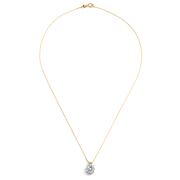 14KT GOLD ROUND 2CTW CZ PENDANT NECKLACE