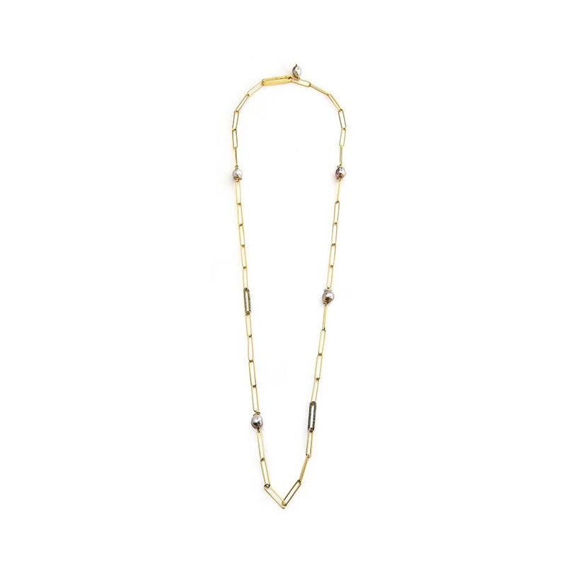 FRESHWATER PEARL AND DIAMOND PAVE STATION NECKLACE
