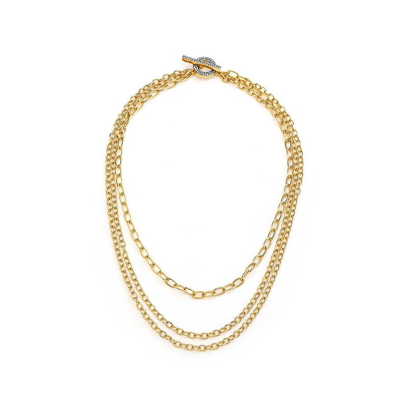DIAMOND PAVE TOGGLE LAYERED CHAIN NECKLACE