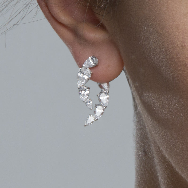 nadri rhodium plated sterling silver lumie cz front back earrings on model