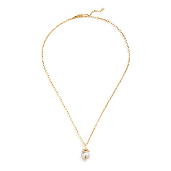 JULIET FRESHWATER PEARL AND CZ SMALL CRESCENT NECKLACE