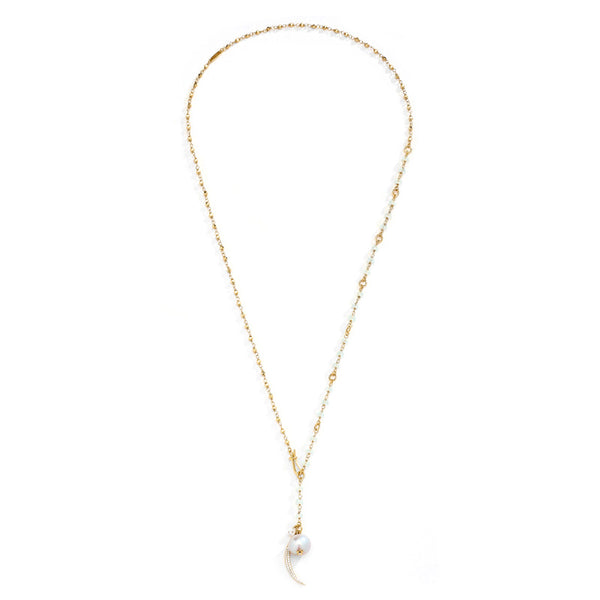 JULIET CZ AND FRESHWATER PEARL ADJUSTABLE NECKLACE