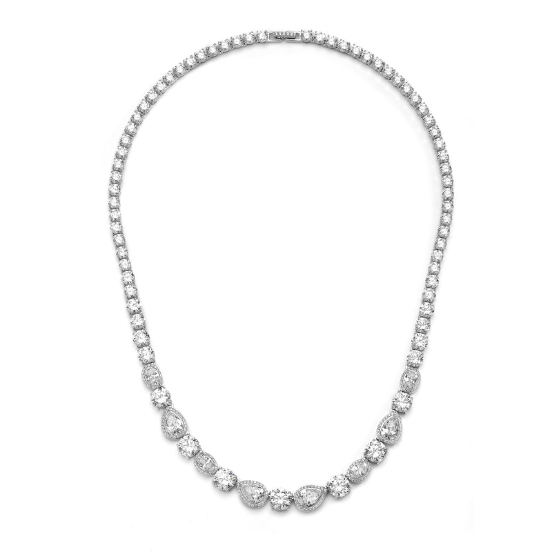 CZ MIXED HALO COLLAR NECKLACE