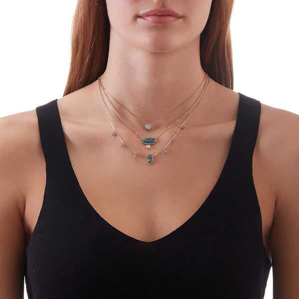 JASMINE LABRADORITE AND CZ NECKLACE