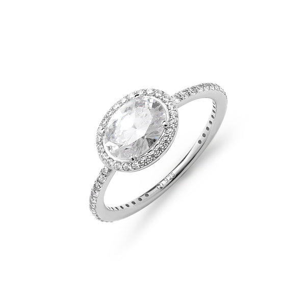 EAST WEST OVAL HALO CZ RING