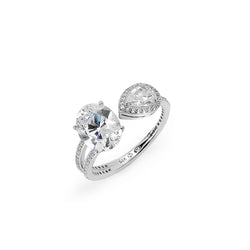OVAL & PEAR HALO CZ COCKTAIL RING