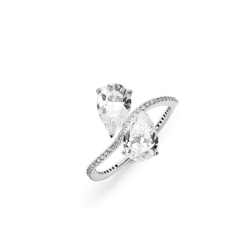 DOUBLE PEAR CZ COCKTAIL RING