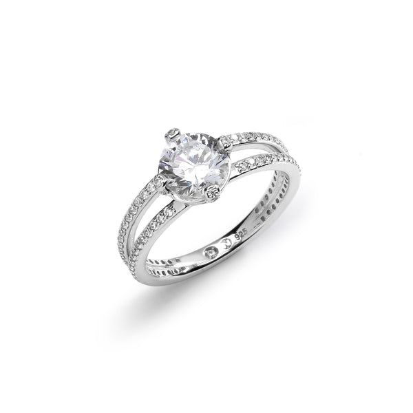 STONE SET PRONG CZ DOUBLE BAND RING