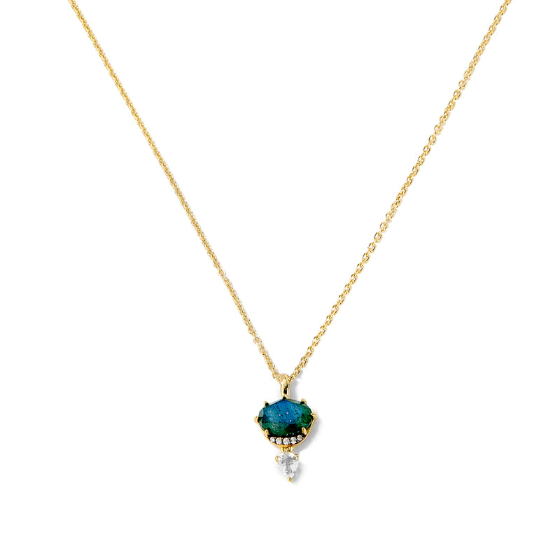 MARI LABRADORITE WHITE TOPAZ AND PAVE CZ PENDANT NECKLACE