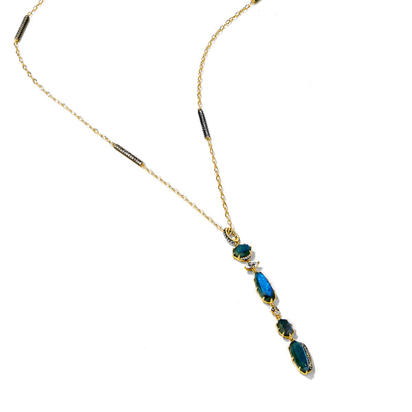 MARI LABRADORITE AND PAVE CZ LONG MULTI PENDANT NECKLACE