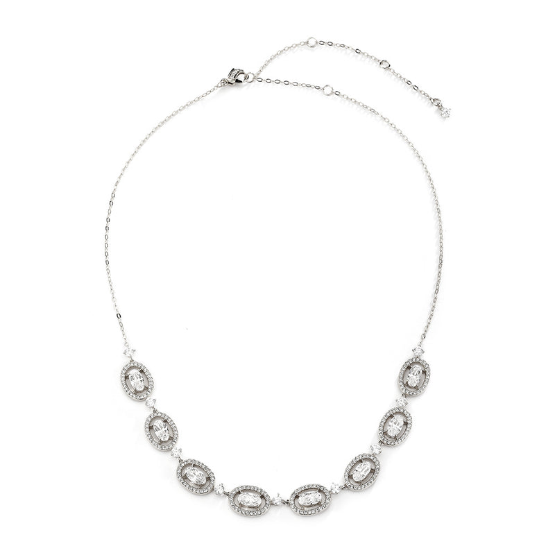 OVAL HALO FRONTAL NECKLACE