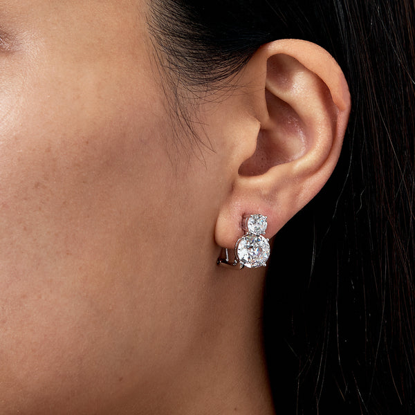 DOUBLE CZ CLIP EARRINGS