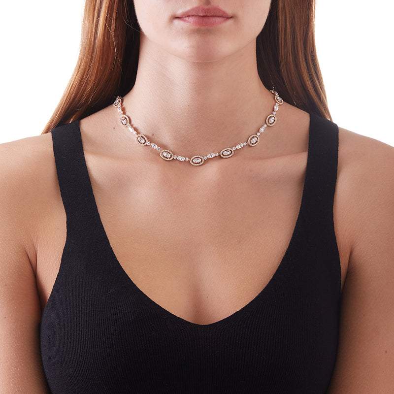 OVAL HALO ALL-AROUND NECKLACE
