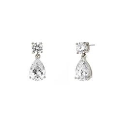 ROUND & PEAR CZ DROP EARRINGS