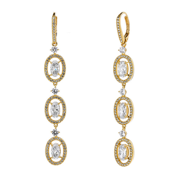 OVAL HALO TRIPLE DROP LEVERBACK EARRINGS