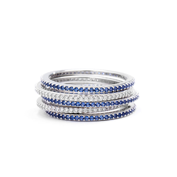 LUXE BLUE PAVE ETERNITY RING STACK