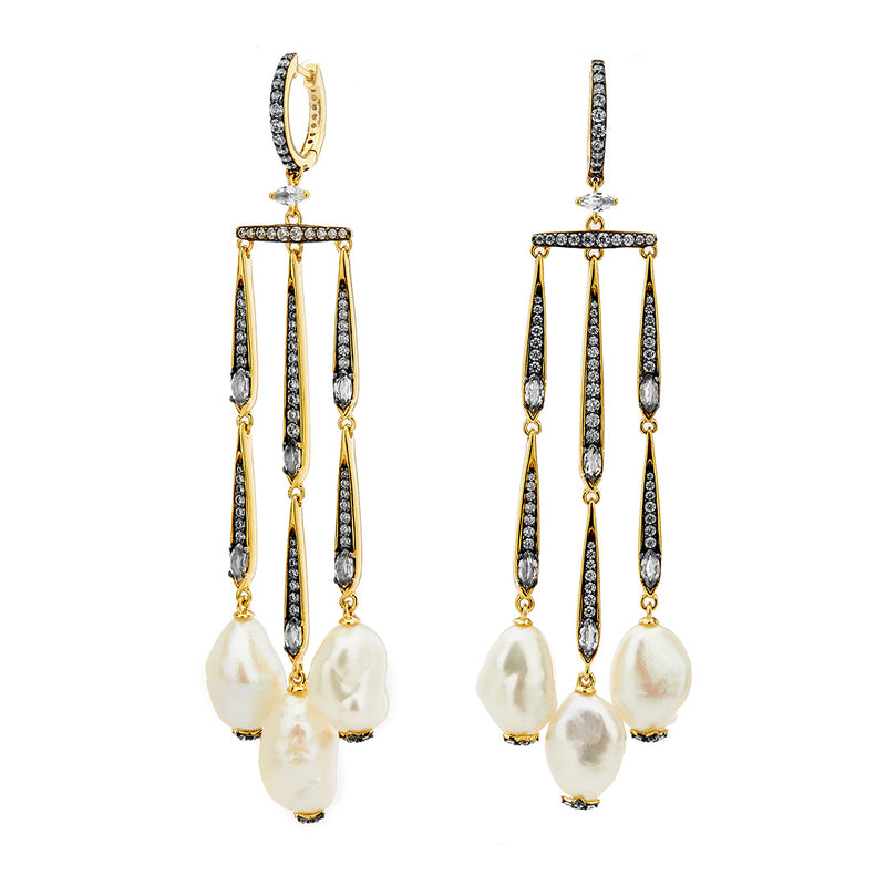 DRAMA PEARL DROP CHANDELIER EARRINGS
