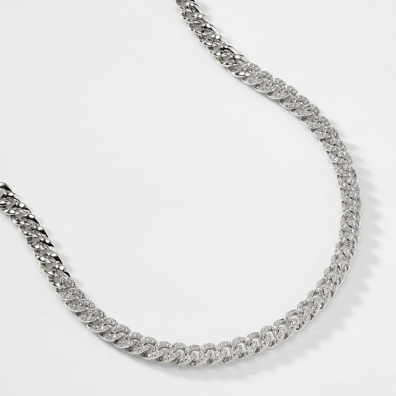 BILLIE STERLING SILVER CURB CHAIN COLLAR NECKLACE