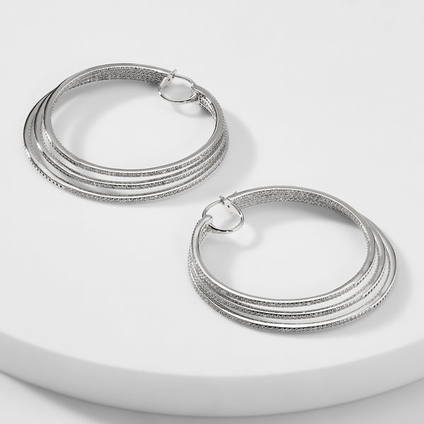 DRAMATIX STERLING SILVER TRIPLE HOOP EARRINGS