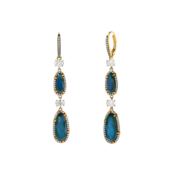 JASMINE LABRADORITE AND CZ LINEAR DROP EARRINGS