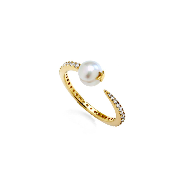 JULIET SILVER FRESHWATER PEARL AND CZ RING