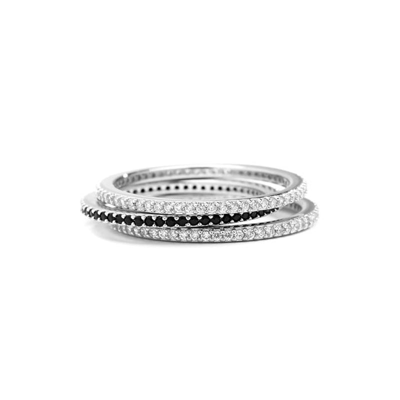 BLACK AND WHITE PAVE ETERNITY RING STACK