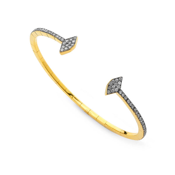 DIAMOND PAVE OPEN FRONT FLEXI CUFF