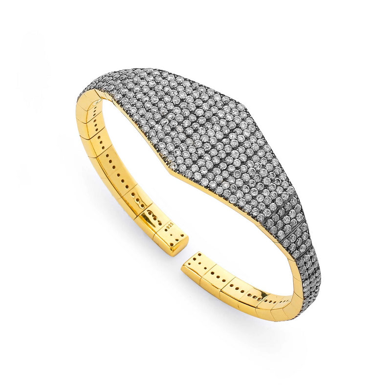 WIDE DIAMOND PAVE FLEXI CUFF