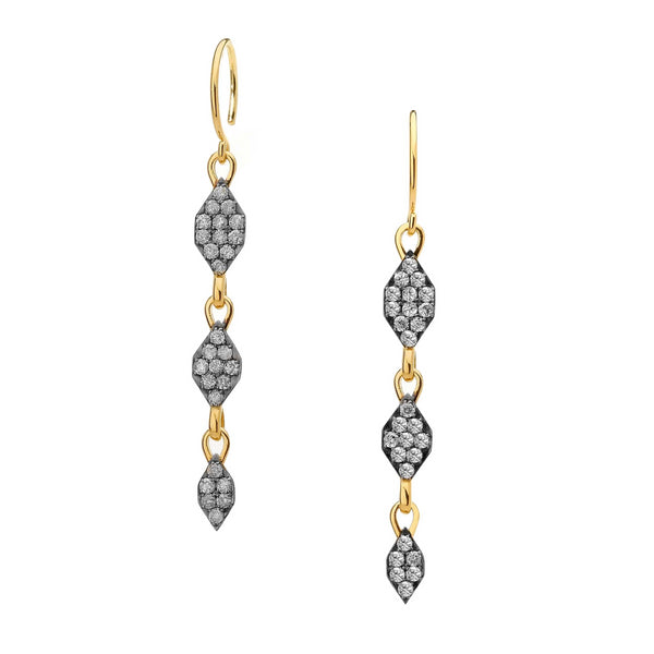 DIAMOND PAVE LINEAR DROP EARRINGS