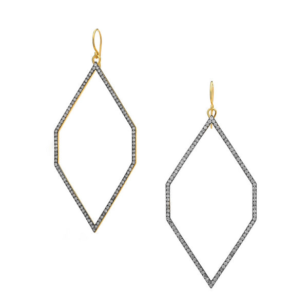 XL DIAMOND PAVE FRONTAL GEOMETRIC EARRINGS