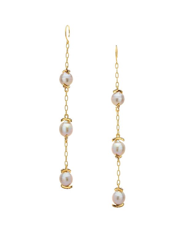 MULTIPLE PEARL AND DIAMOND PAVE DROP EARRINGS