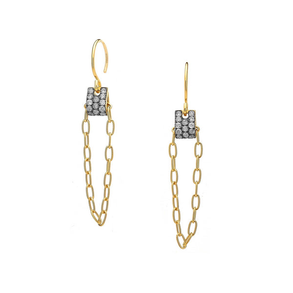 DIAMOND PAVE TAB CHAIN DROP EARRINGS