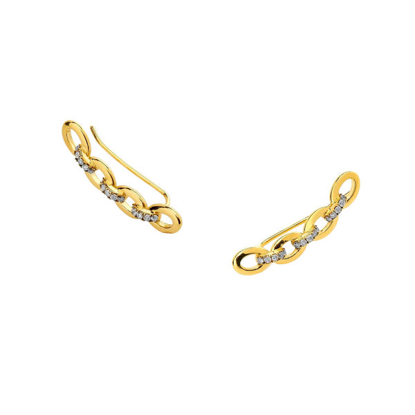 DIAMOND PAVE LINK CLIMBER EARRINGS