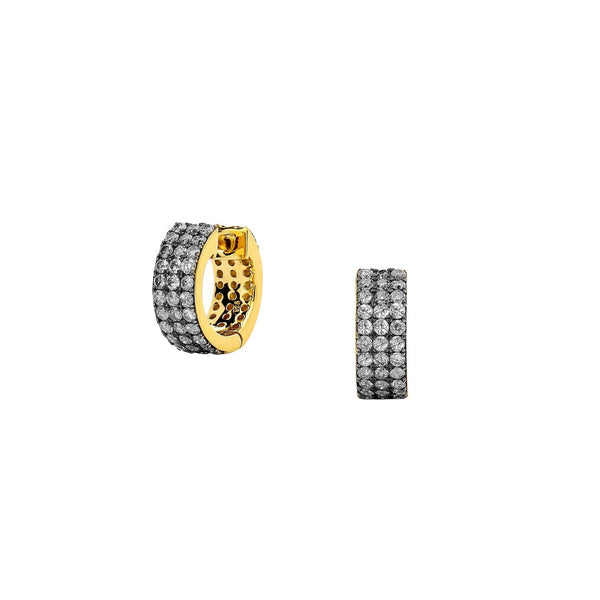 DIAMOND PAVE WIDE HUGGIE EARRINGS
