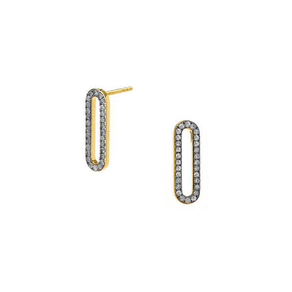 DIAMOND PAVE SMALL LINK STUD EARRINGS