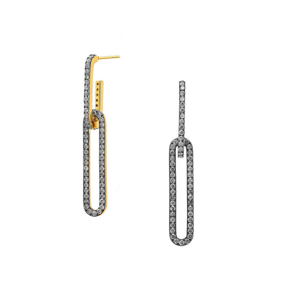 DIAMOND PAVE LINK DROP EARRINGS