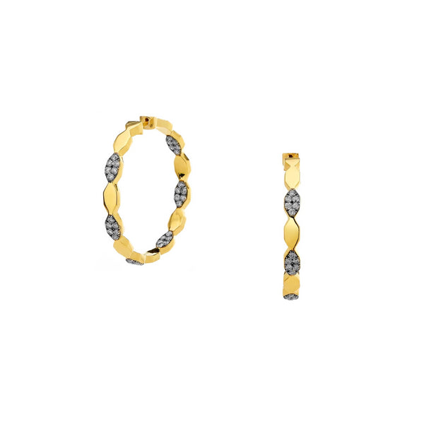 DIAMOND PAVE PATTERN HINGED HOOP EARRINGS
